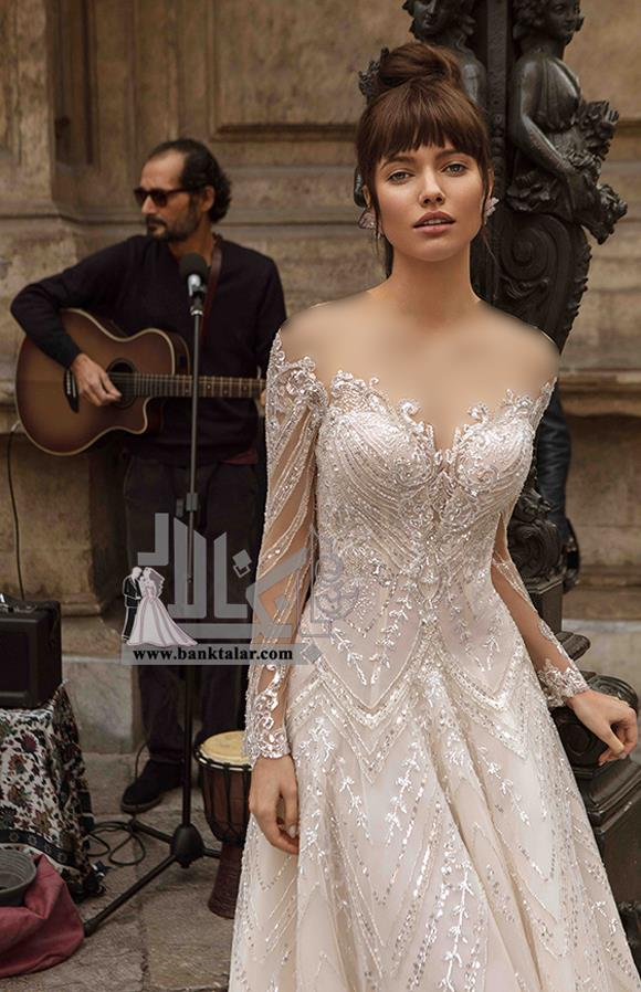 مدل های لباس عروس اروپایی آستین دار تور و دانتل
