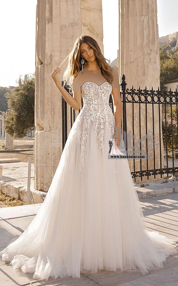 مدل های لباس عروس دکلته 2019