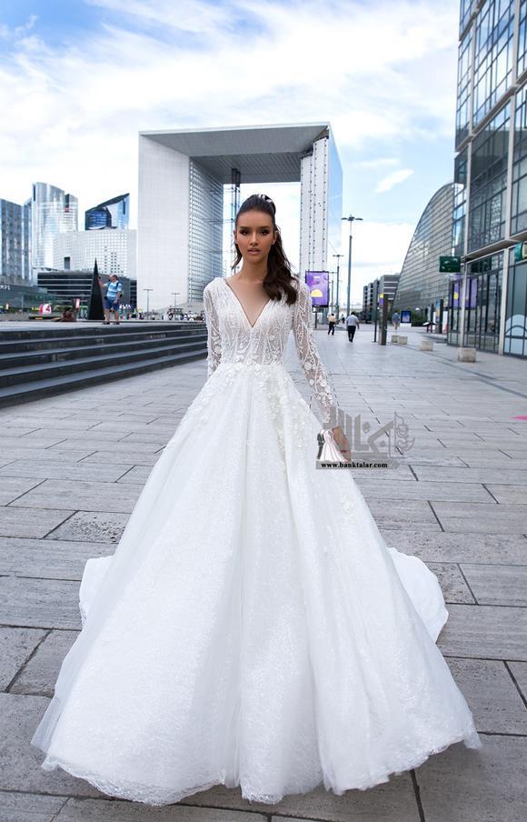 مدل لباس عروس آستین دار جدید 2020
