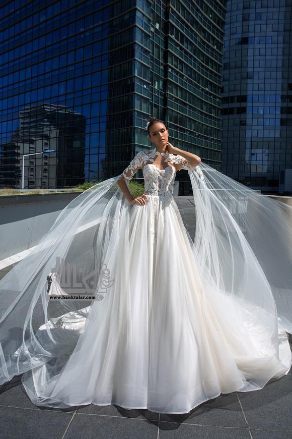 مدل لباس عروس با آستین دانتل و جدید 2020