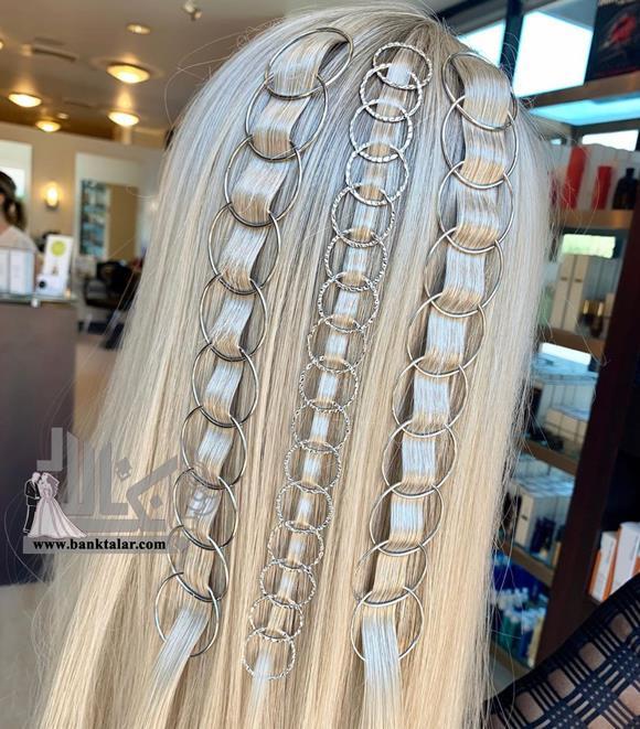 بافت مو با تزیین حلقه و مروارید
