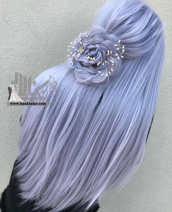 مدل بافت موی گل روی موهای رنگ شده
