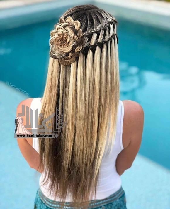 مدل بافت مو آبشار پشت سر با طرح گل
