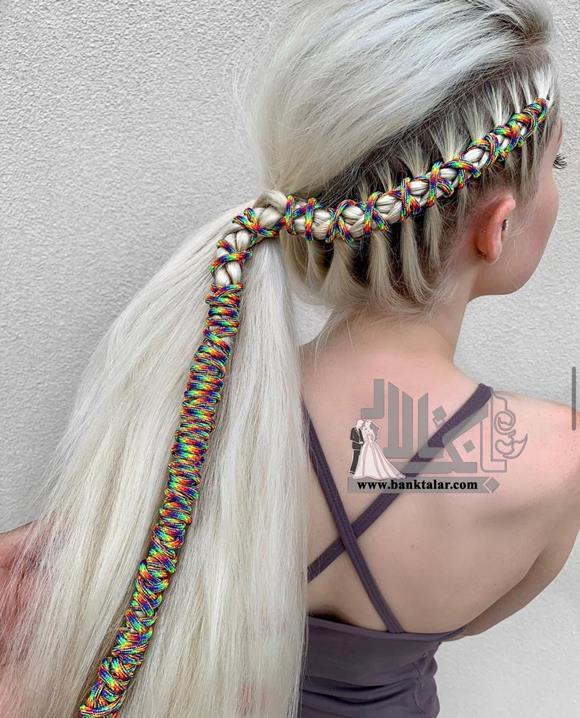 مدل بافت مو کنار سر با کنف رنگی