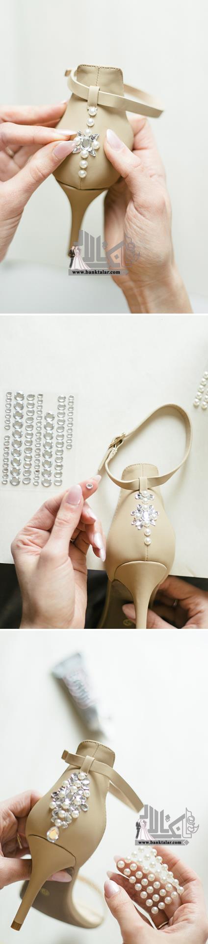 تزیین کفش عروس با دانتل و مروارید