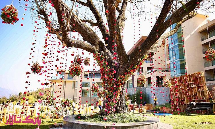 استفاده از روبان های زیبا  برای دیزاین درختان مراسم عروسی